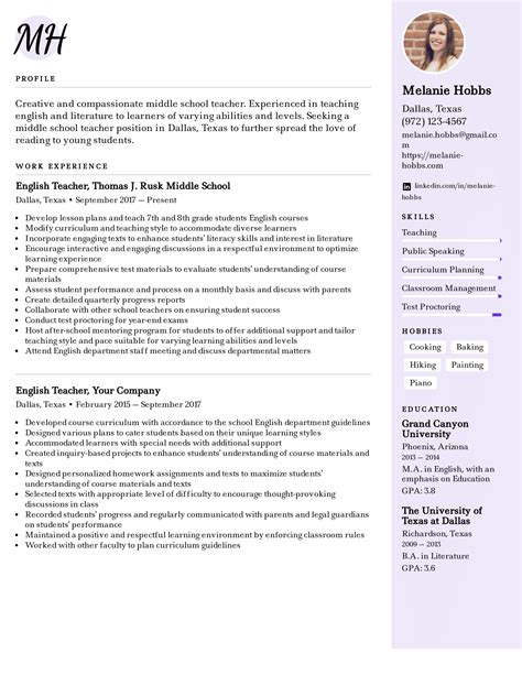 Middle School Teacher Resume CV Templates Download Free CV Templates [optimizareseo.online]