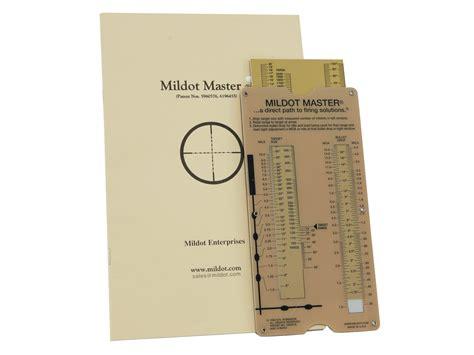 Mildot Enterprises Mildot Master Range Bullet Drop