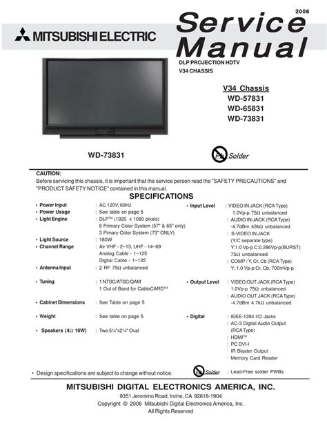 mitsubishi electric tv parts pdf manual