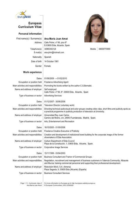 Curriculum Vitae Model European Necompletat Sivan Mydearest Co