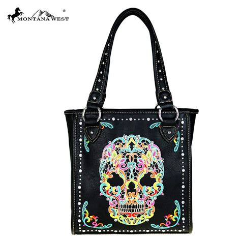 Montana West Sugar Skull Collection Concealed Handgun Tote Coffee