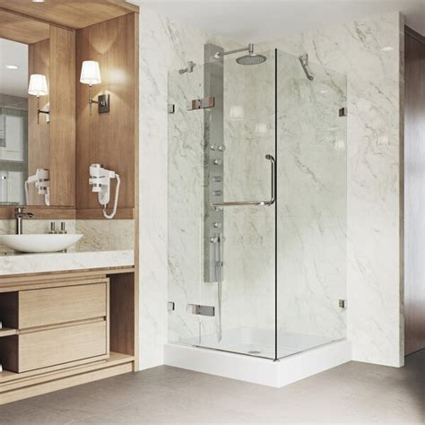 "Monteray 32.37"" x 79.25"" Square Pivot Shower Enclosure with Base Included"