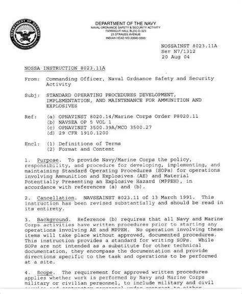 Navy Sop Template Example Standard Operating Procedures
