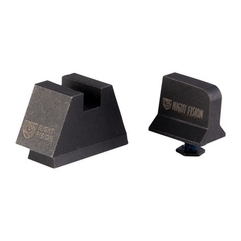 Night Fision Perfect Dot Tritium Night Sights For Glock Supp Height G1719 White Front Black Square Notch Rear
