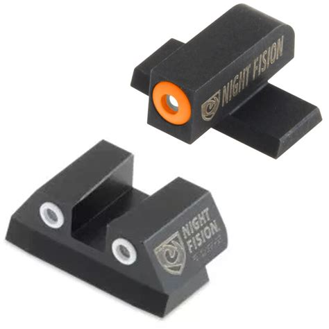 Night Fision Perfect Dot Tritium Night Sights For Sig Sauer Sig P Series 4045 Orange Front Black Square Notch Rear