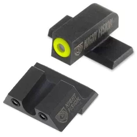 Night Fision Perfect Dot Tritium Night Sights For Springfield Xd Xdm Xd Mod 2 Yellow Front Black U Notch Rear