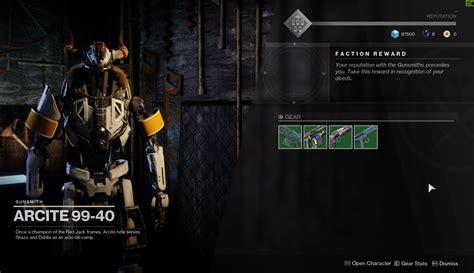 No Faction Rewards For Gunsmith Estiny 2