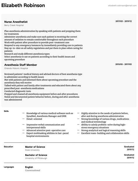 nurse anesthetist resume format cover letter template for ...