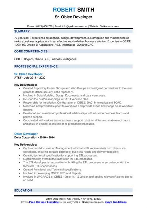 Obiee Developer Resume Sap Mm Central Wecloneyouml