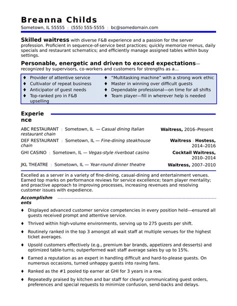 Cocktail Waitress Resume Objective Waitress Resume Objective