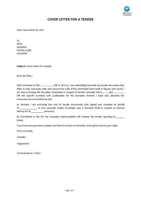cover letter template for tenders on the letter head of the ...