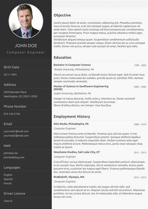 One Page Resume Examples Network Engineer Resume Format