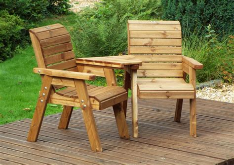 Outdoor bench seat and table Image