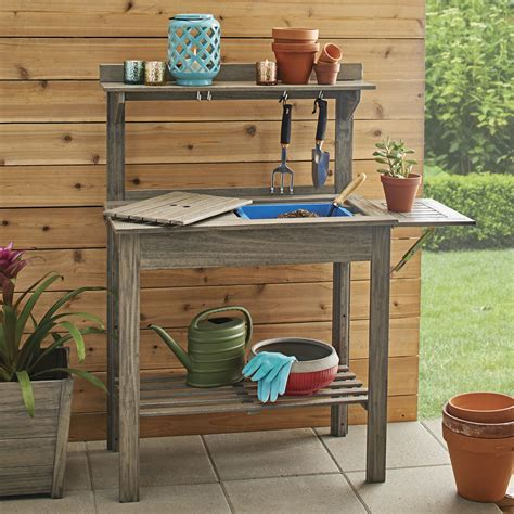 Outdoor potting bench Image
