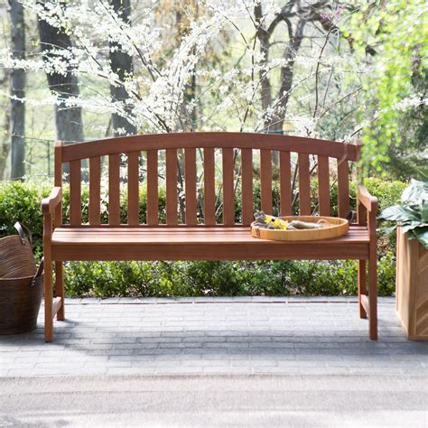 Outdoor wood benches with backs Image