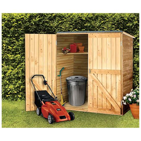 Outdoor wood storage shed Image