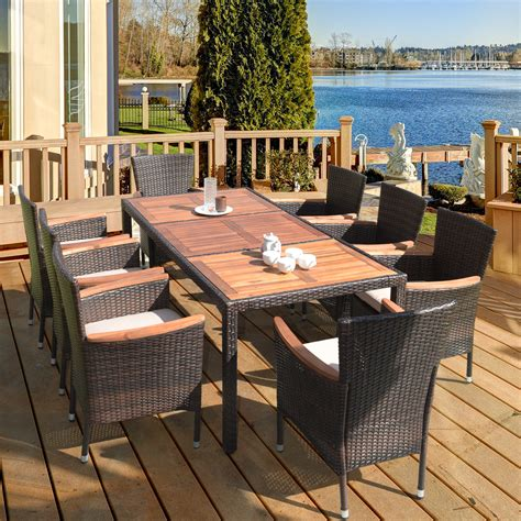 Outdoor wooden table and chairs for sale Image