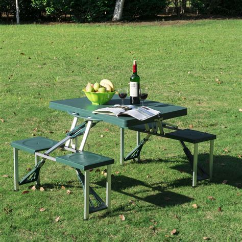 outsunny new outdoor picnic table portable folding camping with case seats Image
