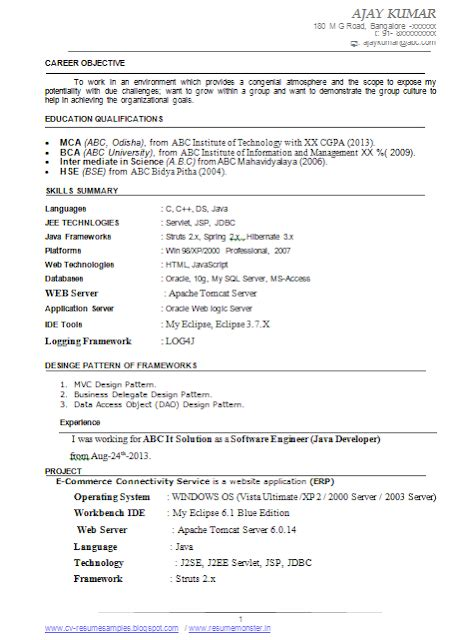 Resume samples for freshers btech free download