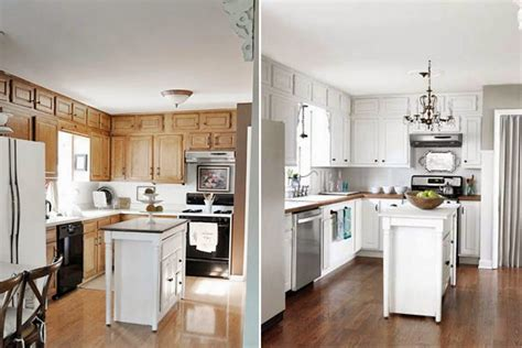 Painted White Kitchen Cabinets Before And After
