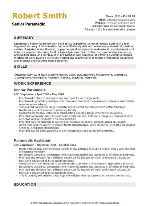 Career Objective For Auditor Resume Paramedic Sample Cvtips