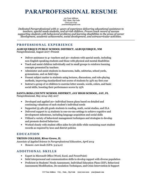 Paraprofessional Job Description For Resume Cover Letter