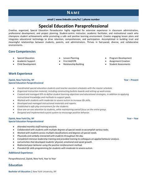 Paraprofessional Resume Job Description Sample Cover