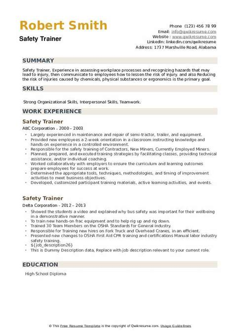Part Of A Safety Team On Resume