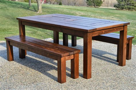 Patio table wood bench designs Image