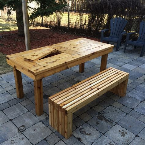 Patio table wooden bench Image