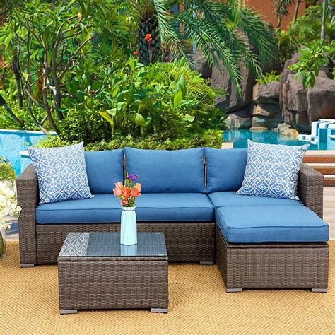 Patrice Outdoor 3 Piece Rattan with Cushions
