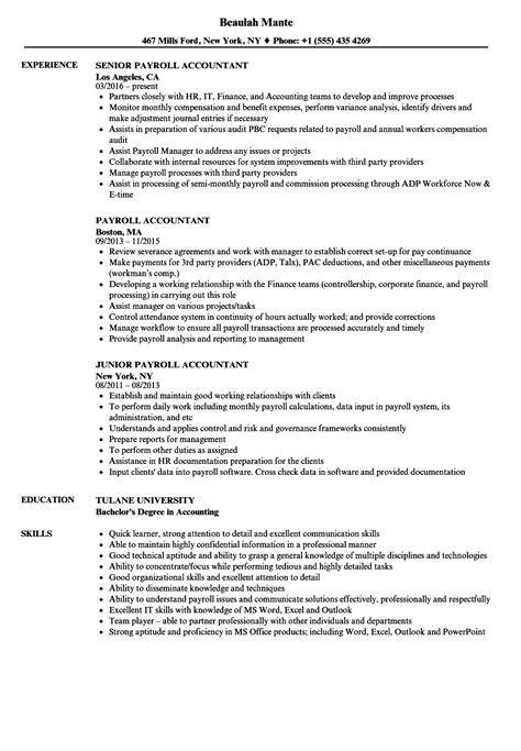Payroll Tax Resume Sample Cv Template Nursing