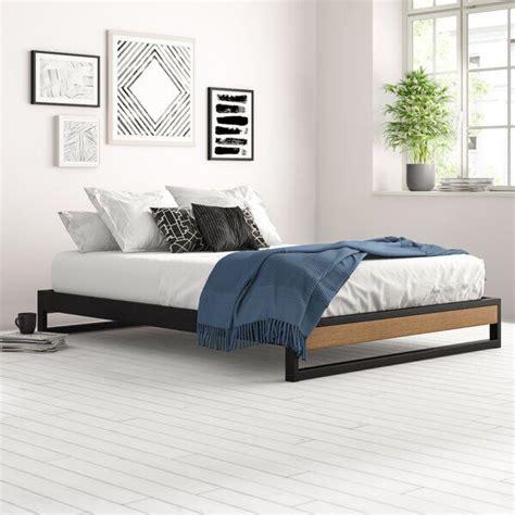 Permelia Metal and Wood Platform Bed