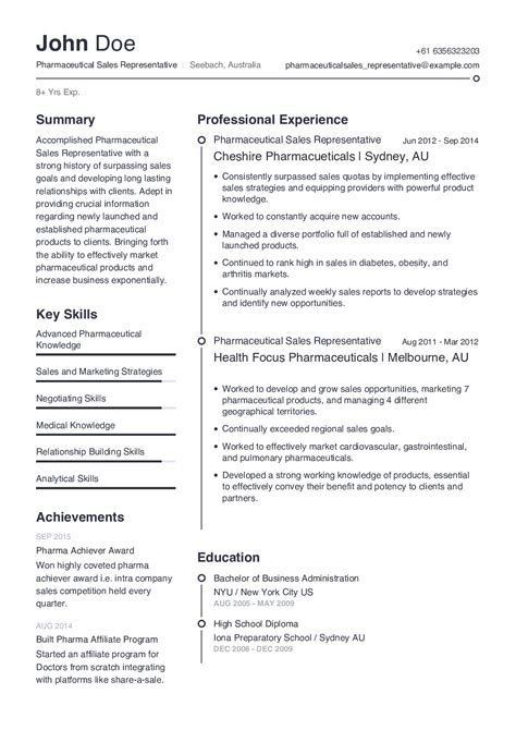 Pharmaceutical Sales Rep Resume Template | Cover Letter ...