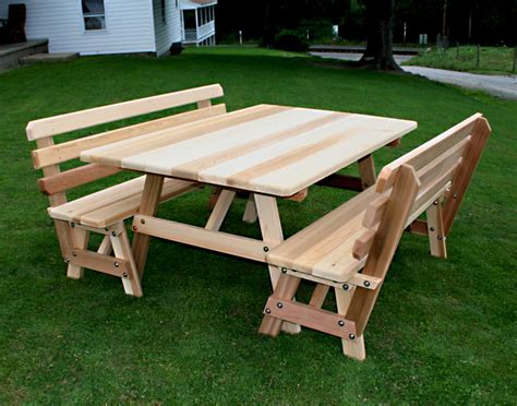 Picnic table with bench Image