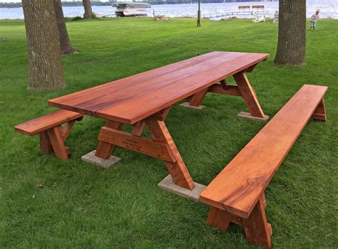 Picnic wooden table Image