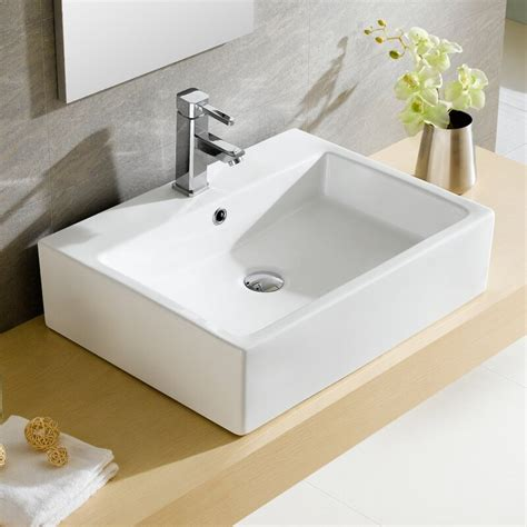 Pinto Ceramic Rectangular Vessel Bathroom Sink with Overflow