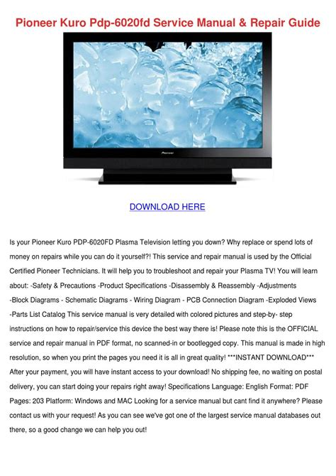 pioneer kuro pdp 6020fd 1080p plasma tv pdf manual