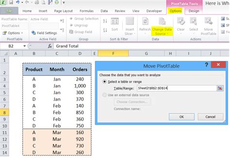 pivot table change data source not working