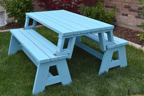 Plans for picnic table that turns into bench Image