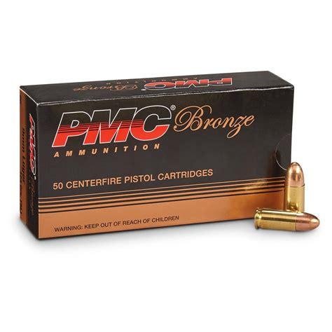 PMC Bronze 9mm Luger Ammunition 50 Rounds FMJ 124 Grains