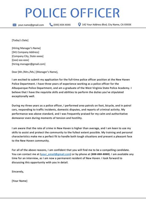 Police Officer Cover Letter Examples | How To Resume Xbox ...