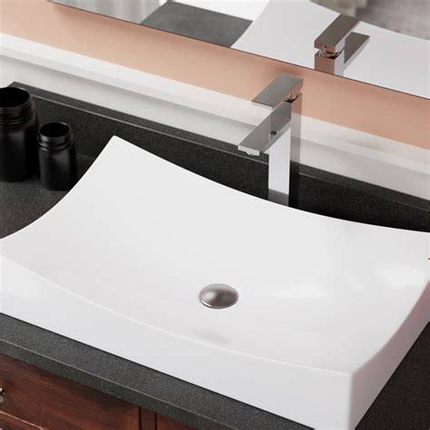 Porcelain Rectangular Vessel Bathroom Sink
