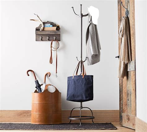 pottery barn bench and coat rack