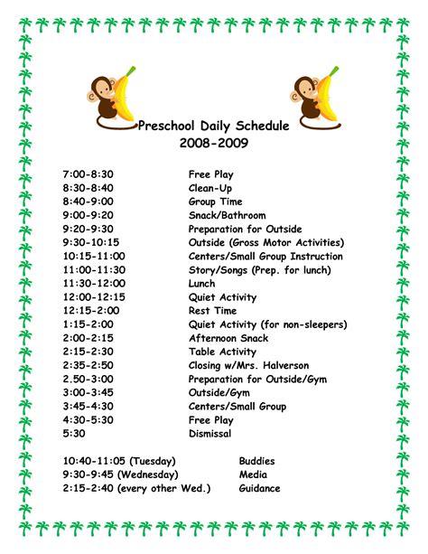 Preschool Schedule Template CV Templates Download Free CV Templates [optimizareseo.online]