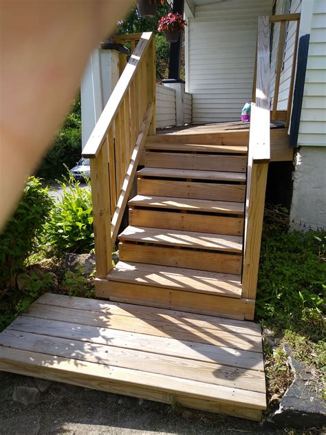 Pressure treated wood steps Image