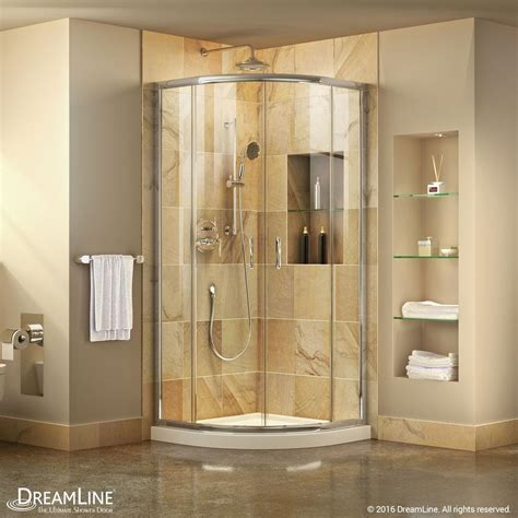 "Prime 33"" x 74.75"" Round Sliding Shower Enclosure with Base Included"