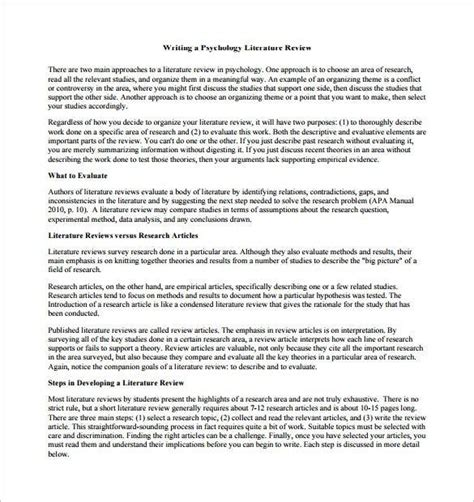 Psychology Literature Review Outline