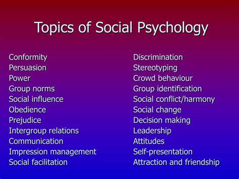 Psychology Research Topics Social Psychology