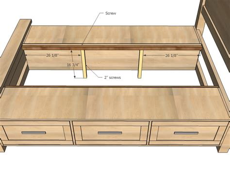Queen bed with storage plans Image